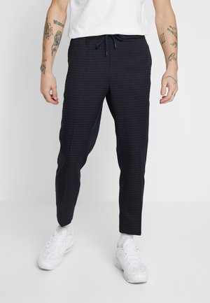 CROP GRID COX - Trousers - navy
