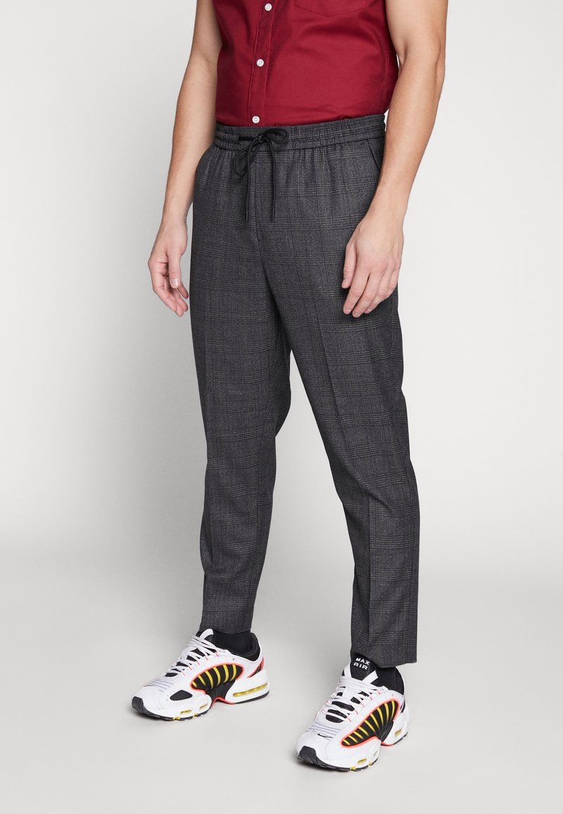 New Look - TRENDY TONAL CHECK PULL ON - Trousers - dark grey/green