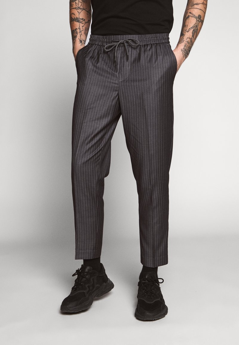 New Look - STRIPE PULL ON - Pantaloni - mid grey
