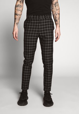 GRID CHECK TROUS - Tygbyxor - black