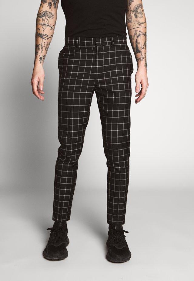 GRID CHECK TROUS - Kalhoty - black