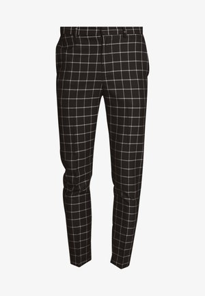 GRID CHECK TROUS - Trousers - black