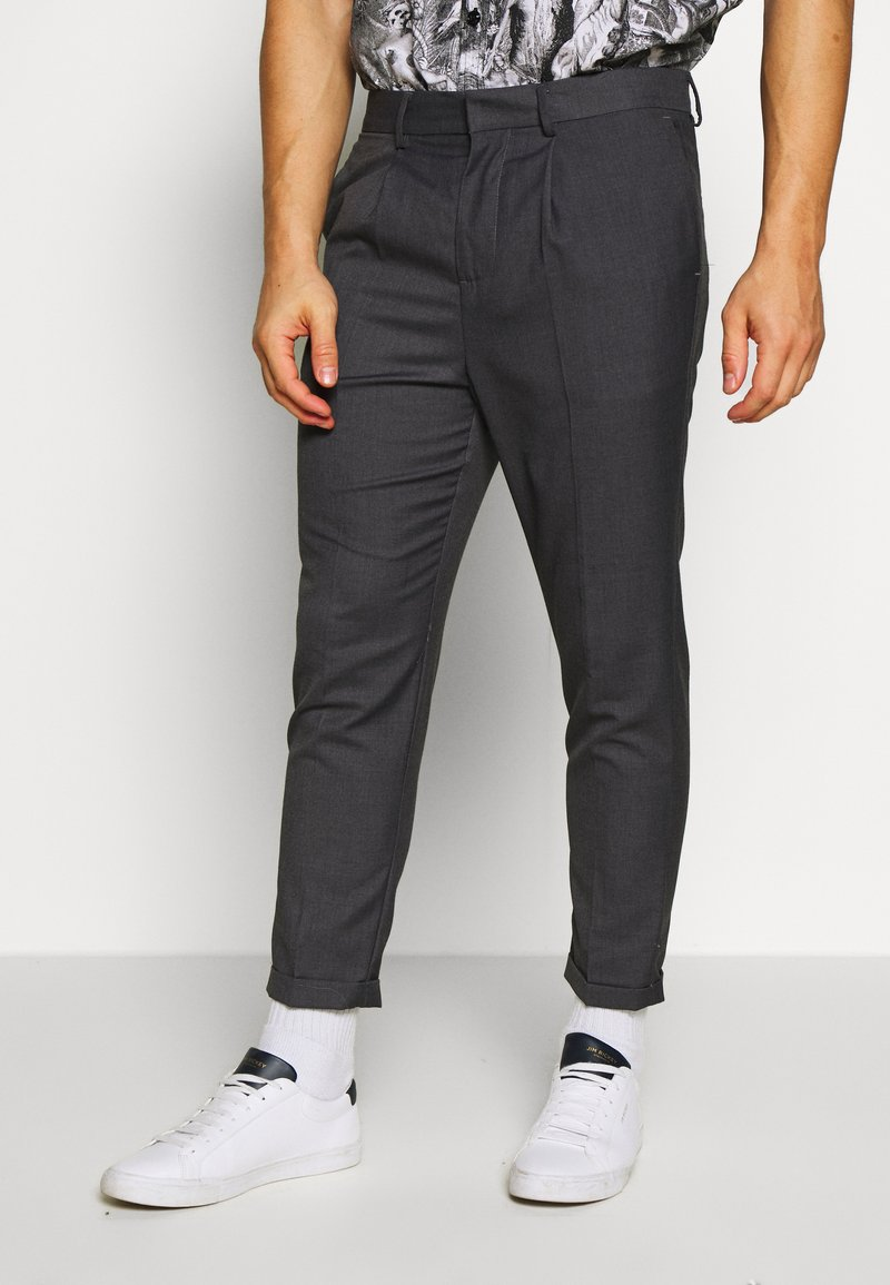 New Look - PLEAT PULL ON - Pantaloni - mid grey