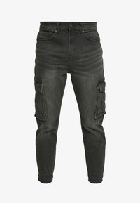 New Look - TAPERED WASHED CARGO - Cargo trousers - black - 5