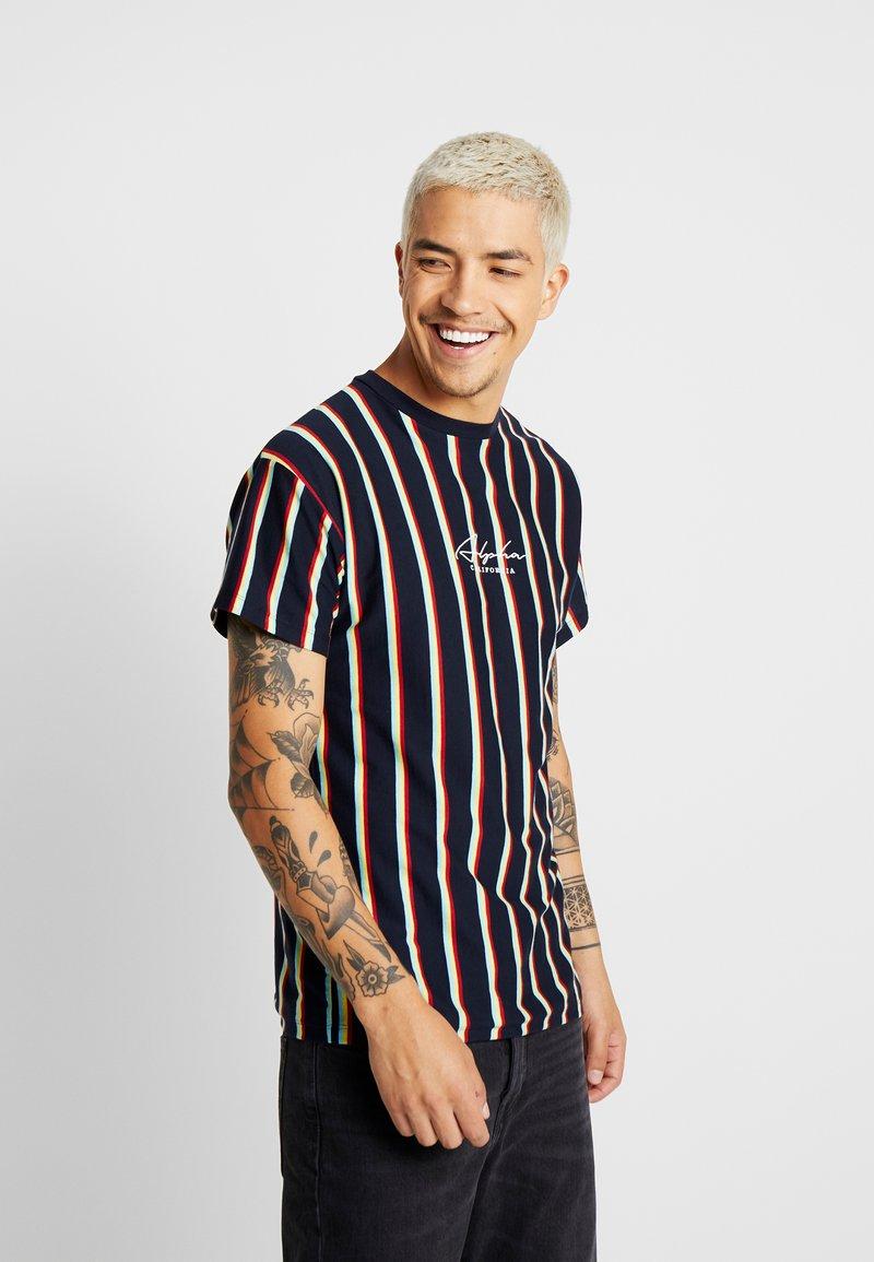 New Look - ALFA VERT STRIPE TEE - T-shirt con stampa - navy