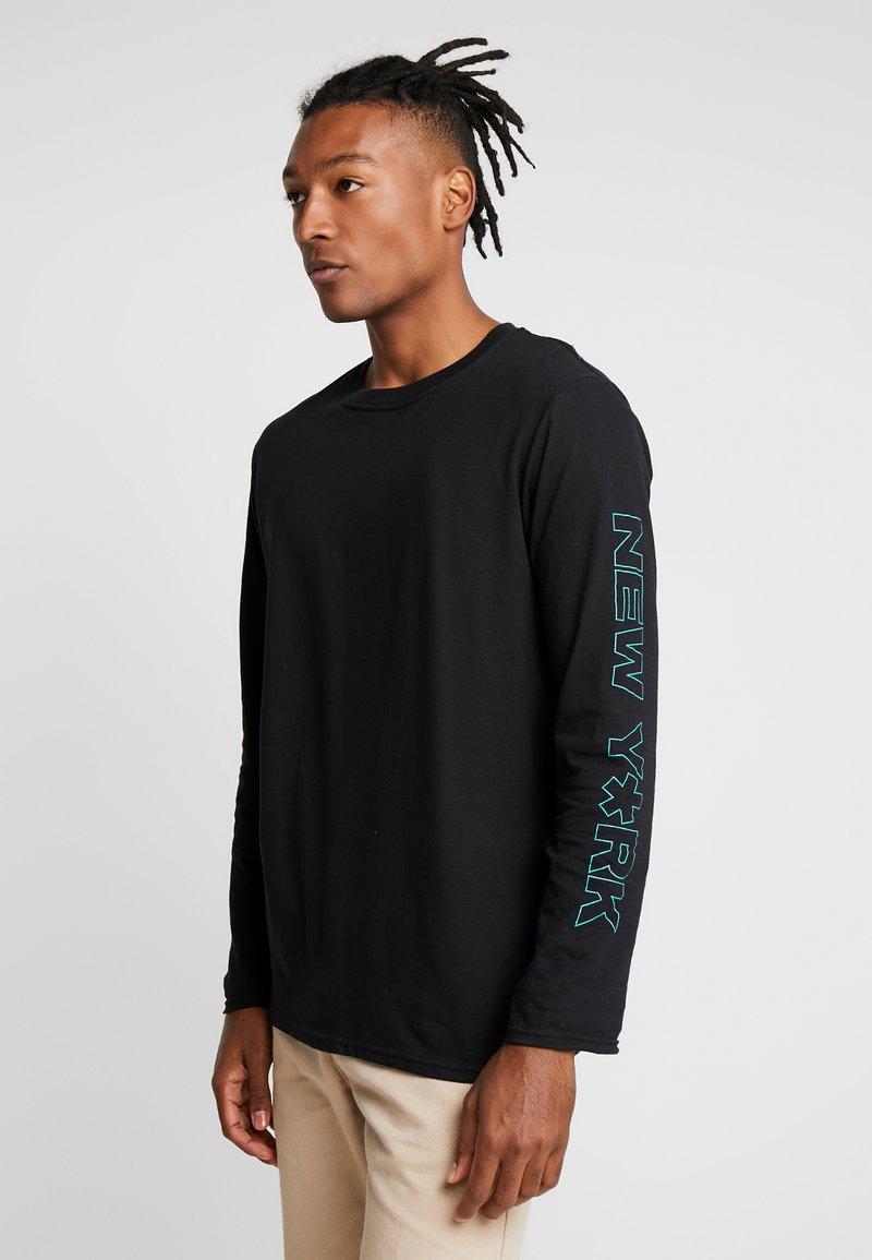 New Look - PRINT CUFF TEE - Top sdlouhým rukávem - black