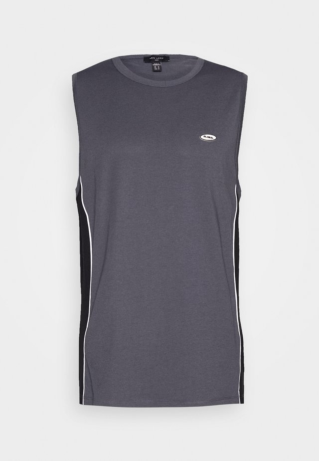 GLOBAL PIPED BLOCK VEST - Top - dark grey