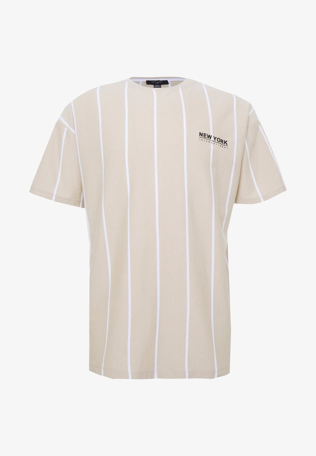 VERT STRIPE TEE - T-shirt print - stone