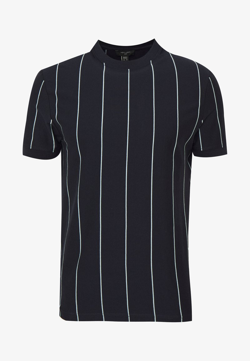 New Look - VERT STRIPE TEE - Print T-shirt - navy