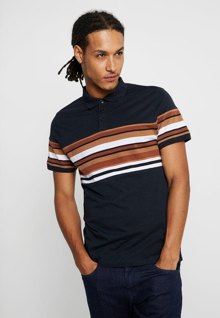 New Look - MID STRIPE BLOCK - Poloshirts - navy