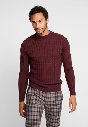 ASO CABLE MUSCLE FIT CREW - Stickad tröja - dark burgundy