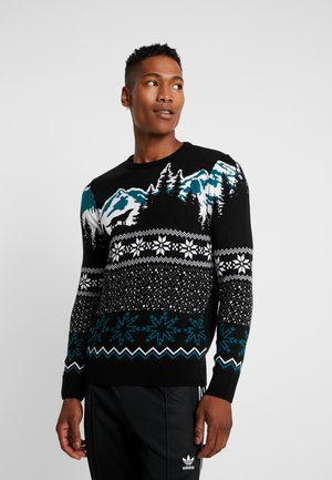 WOLF FAIRISLE CREW - Jumper - black