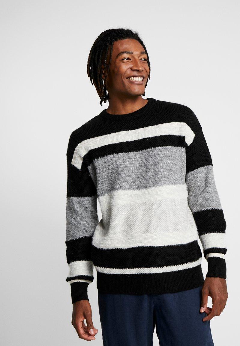 New Look - RPASO HAIRY DROP SHOULDER CREW  - Jumper - black pattern