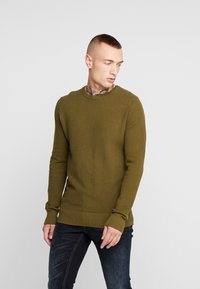 New Look - WAFFLE CREW - Jumper - light khaki - 0