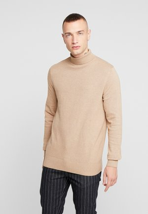 TEXTURED ROLL NECKS - Stickad tröja - stone