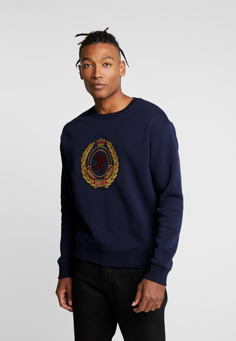 New Look - CREST CREW - Sweatshirt - navy