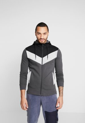 CHEVRON COLOUR BLOCK ZIP THRU - Huvtröja med dragkedja - mid grey