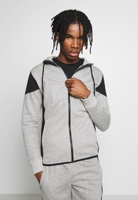 New Look - COLOURBLOCK GREY MARL ZIP - Hoodie met rits - light grey - 0