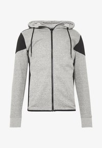 New Look - COLOURBLOCK GREY MARL ZIP - Hoodie met rits - light grey