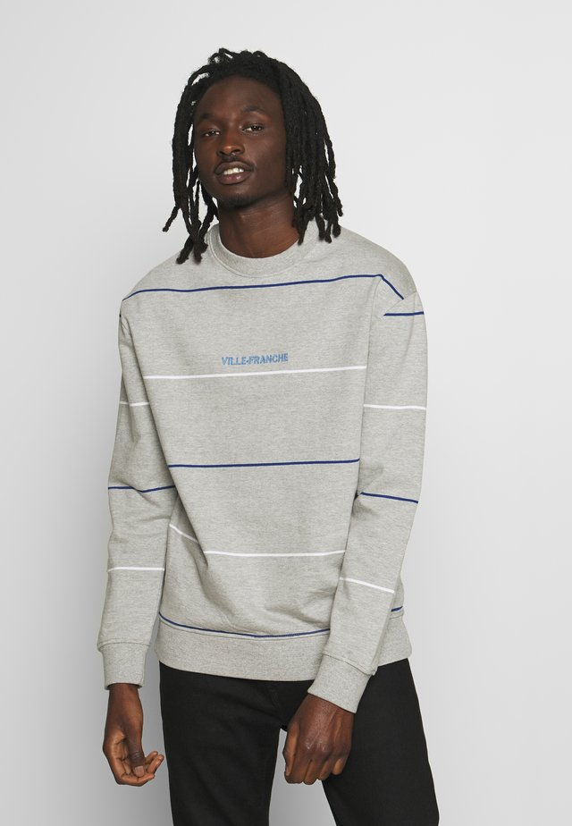 STRIPED CREW - Sweatshirt - grey