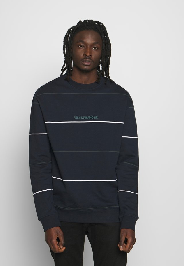 STRIPED CREW - Sweatshirt - dark blue