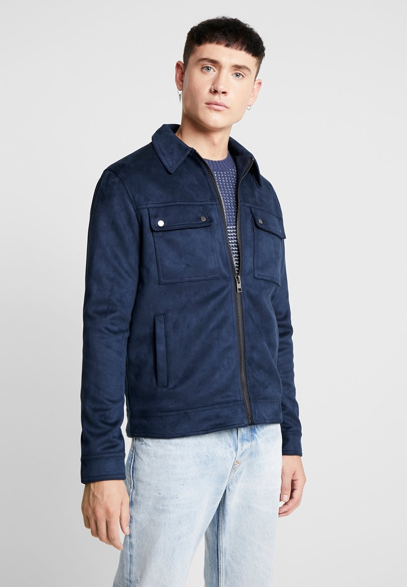 New Look - SHACKET - Faux leather jacket - navy