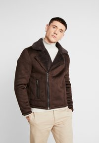 New Look - SHEARLING AVIATOR - Faux leather jacket - brown - 0