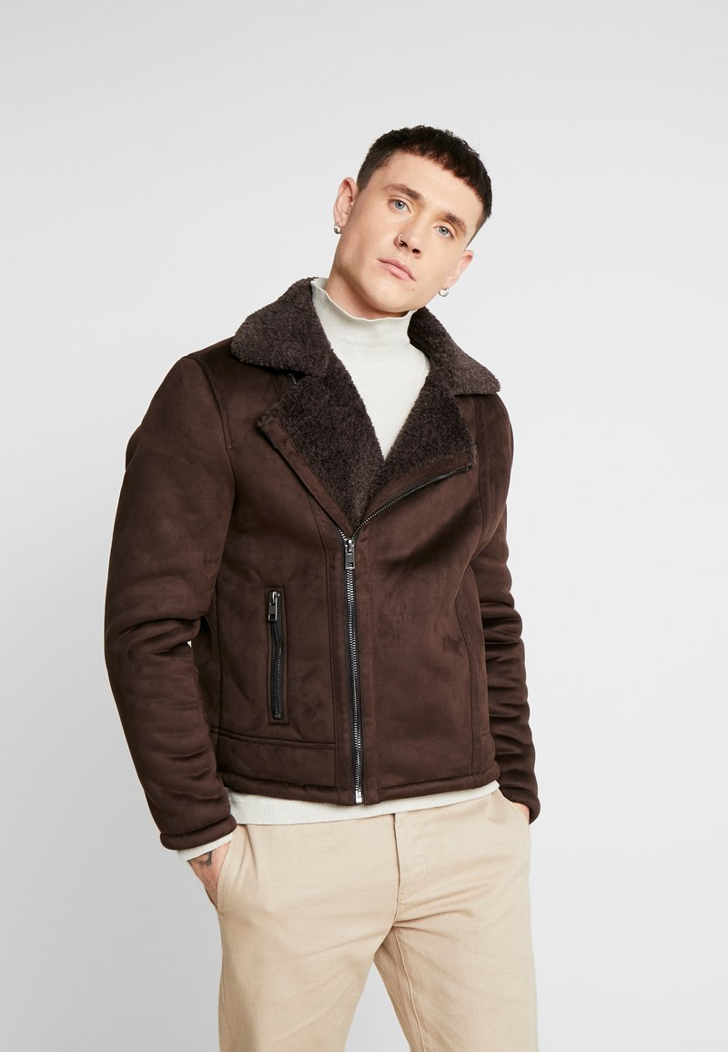 New Look - SHEARLING AVIATOR - Faux leather jacket - brown