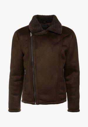 SHEARLING AVIATOR - Chaqueta de cuero sintético - brown