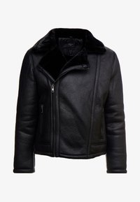 New Look - SHEARLING AVIATOR - Faux leather jacket - black - 4