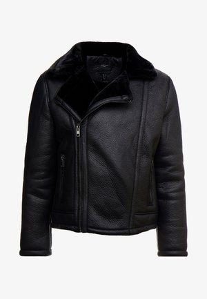 SHEARLING AVIATOR - Chaqueta de cuero sintético - black