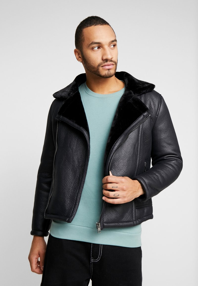 New Look - SHEARLING AVIATOR - Faux leather jacket - black