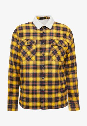 BORG LINED CHECK SHACKET - Lehká bunda - yellow