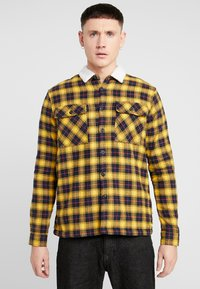 New Look - BORG LINED CHECK SHACKET - Lett jakke - yellow - 0