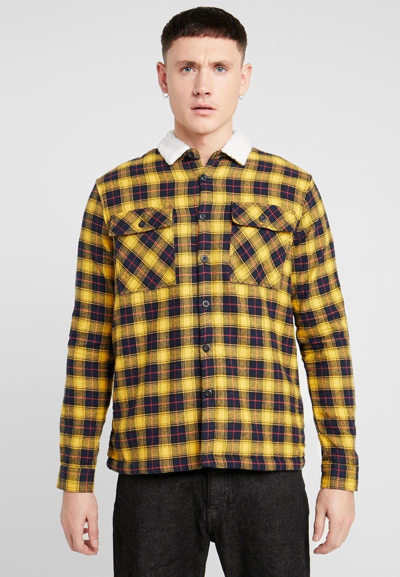 New Look - BORG LINED CHECK SHACKET - Lett jakke - yellow