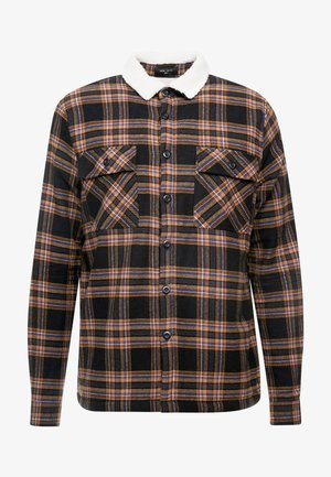 BORG LINED CHECK SHACKET - Chaqueta de entretiempo - black