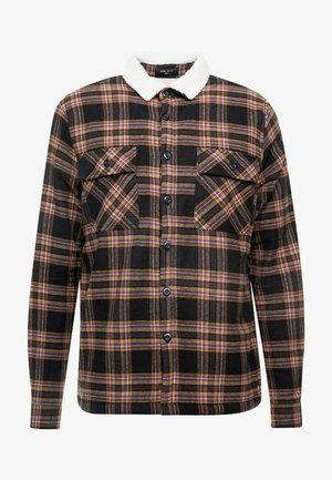BORG LINED CHECK SHACKET - Light jacket - black