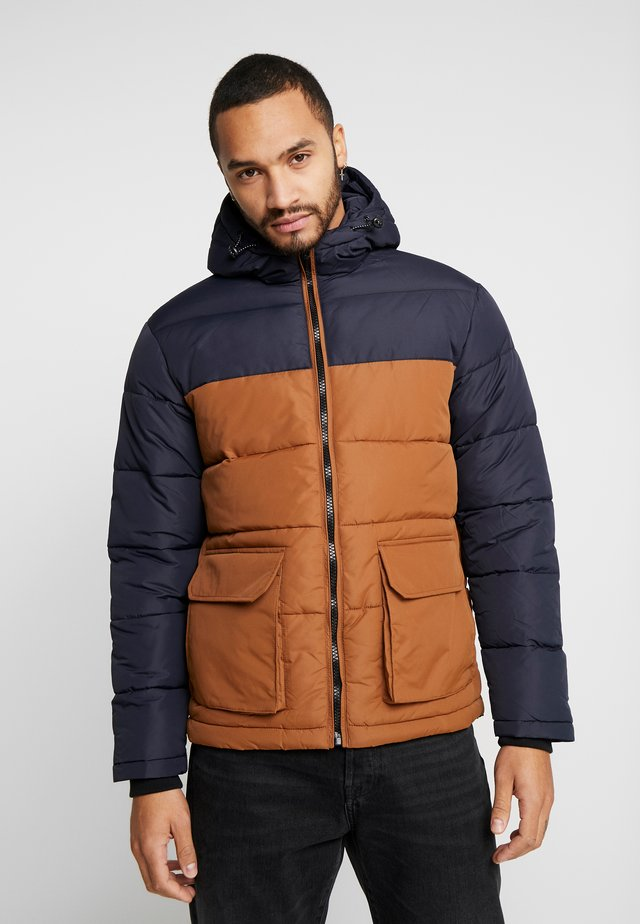 COLOUR BLOCK PUFFER - Winterjas - navy