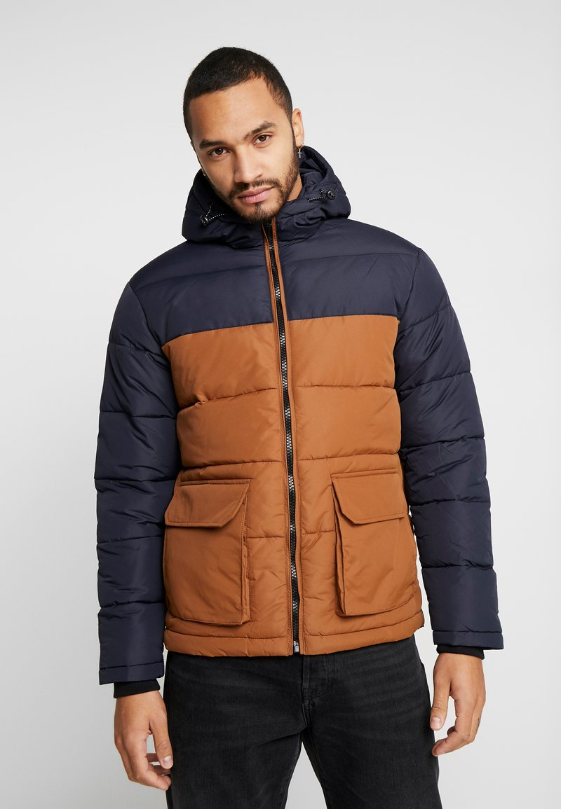 New Look - COLOUR BLOCK PUFFER - Winter jacket - navy
