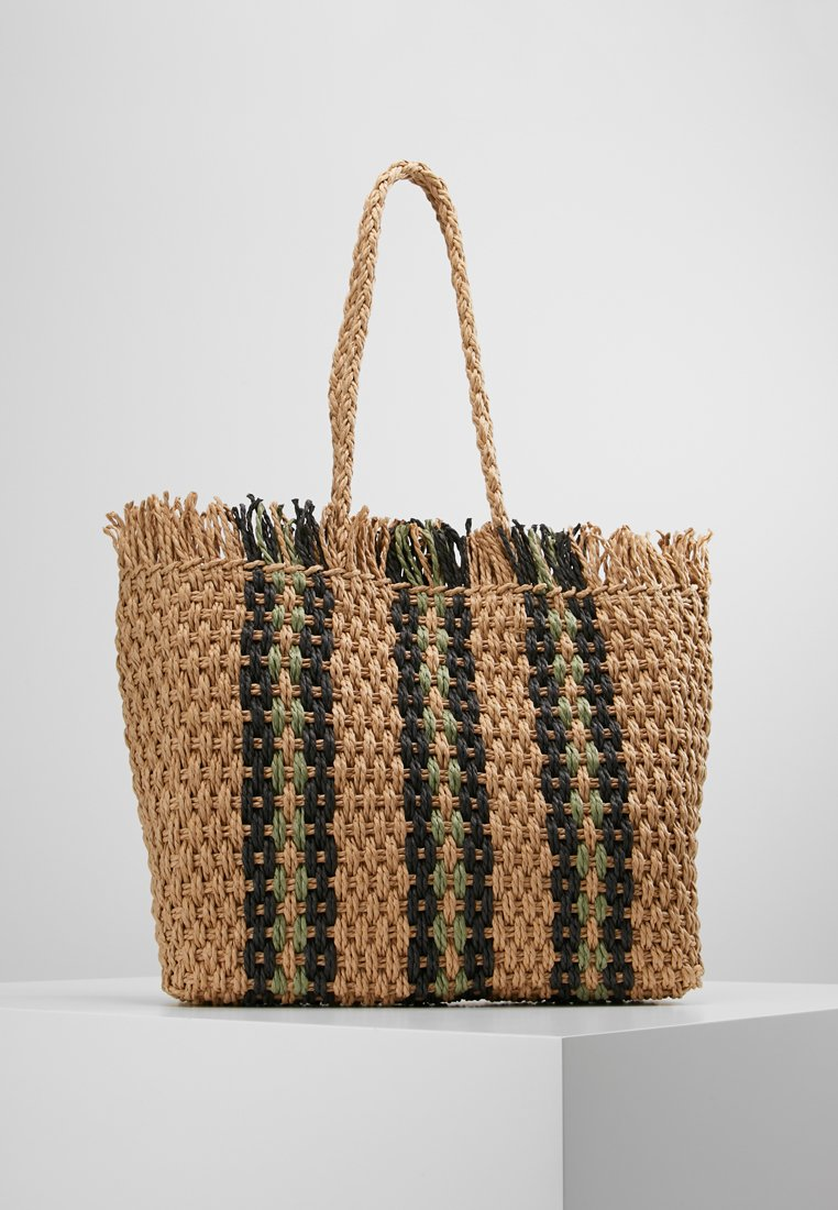 New Look - CUBA STRIPEY TOTE - Shoppingväska - green