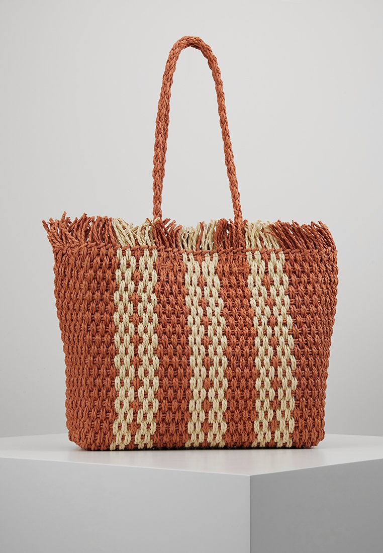 New Look - CUBA STRIPEY TOTE - Shoppingväska - orange