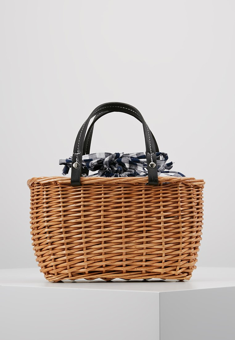 New Look - GINGHAM DETAIL BASKET - Käsilaukku - black