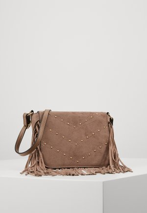 FABLE FRINGED STUD X BODY - Across body bag - tan