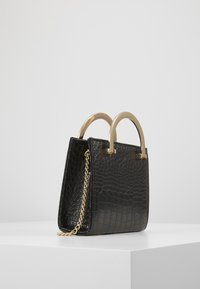 New Look - KATYA CROC METAL HANDLE - Clutch - black