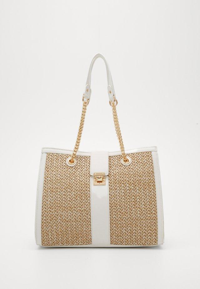 MURO STRUCTURED TOTE - Handtasche - white/light brown
