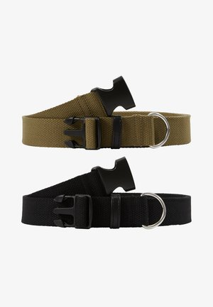 BUCKLE BELT 2 PACK - Pásek - black/dark khaki