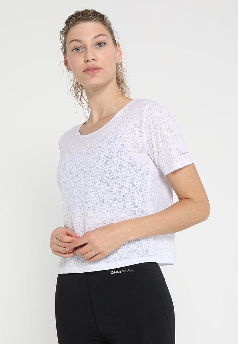 ONLY Play - ONPZOLA BURN OUT SHORT TEE - T-Shirt print - white