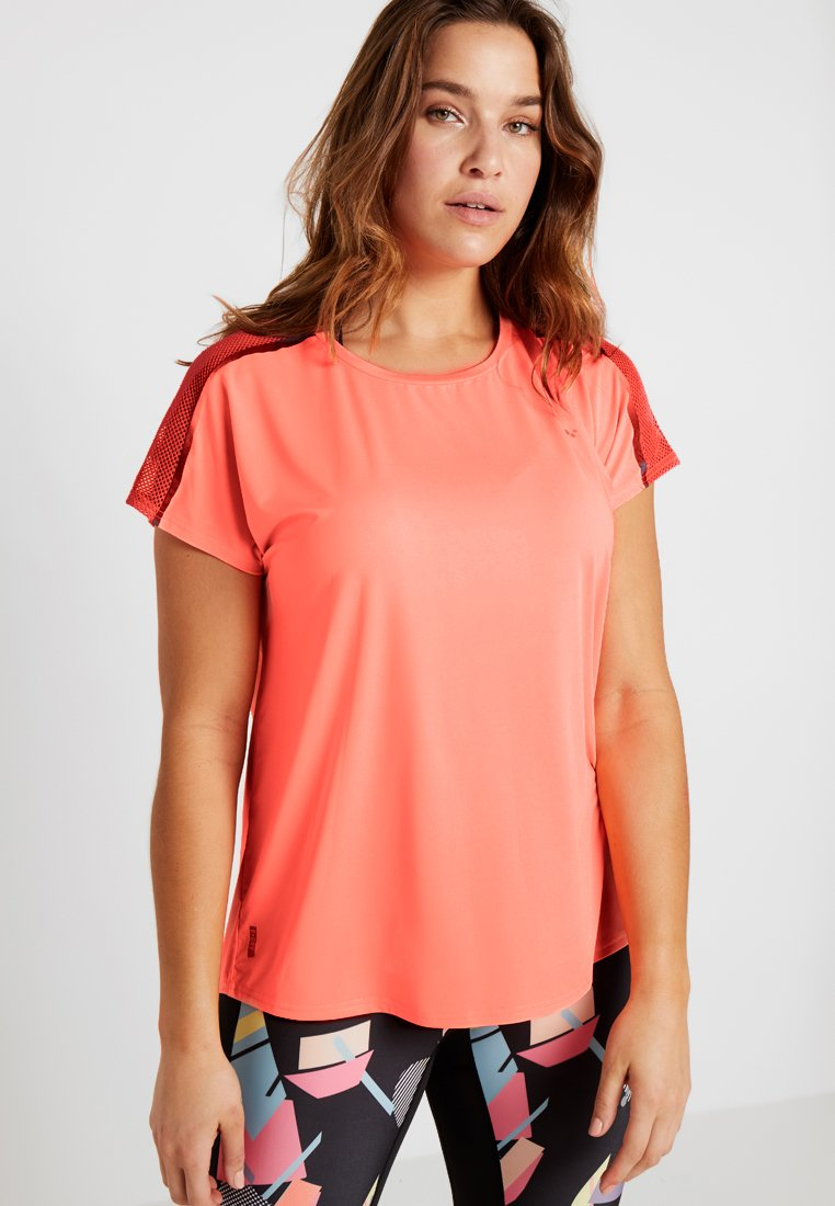 ONLY Play - ONPCALEXIA LOOSE TRAINING TEE - Funktionstrøjer - neon orange/paradise pink