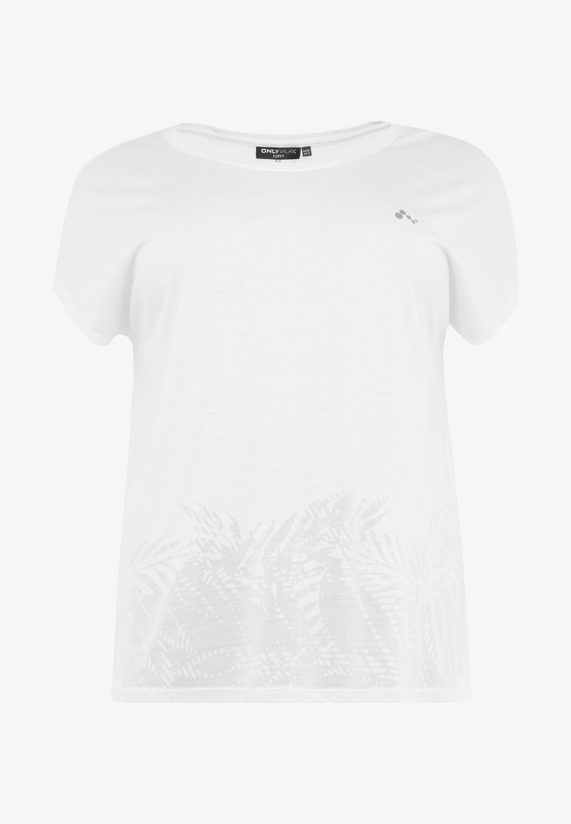 ONLY Play - ONPMARLEE CURVED BURNOUT TEE - T-shirt imprimé - white