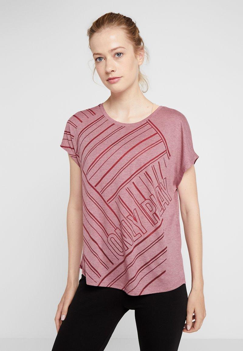 ONLY Play - ONPJONI LOOSE BURNOUT TEE - T-shirt med print - beet red melange